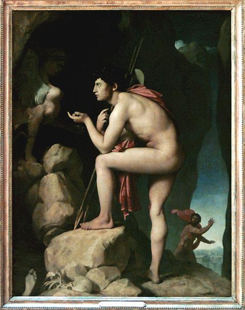 Oedipe explique l'énigme du Sphinx,  Ingres